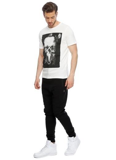 Jack & Jones Jack & Jones Kuru Kafa Baskılı  T-Shirt Beyaz